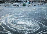A whirlpool is seen near Oarai City, Ibaraki Prefecture, northeastern Japan