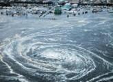 A whirlpool is seen near Oarai City, Ibaraki Prefecture, northeastern Japan