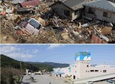 A parking lot of a shopping centre filled with houses and debris in Otsuchi town, Iwate prefecture two days after the earthquake hit and the same area picture on June 3